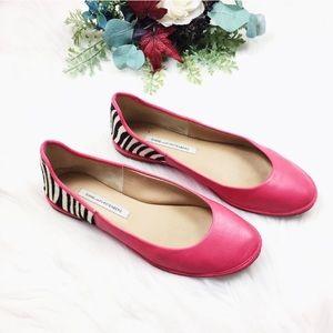 Diane Von Furstenberg Hot Pink Zebra Flats SZ 8.5